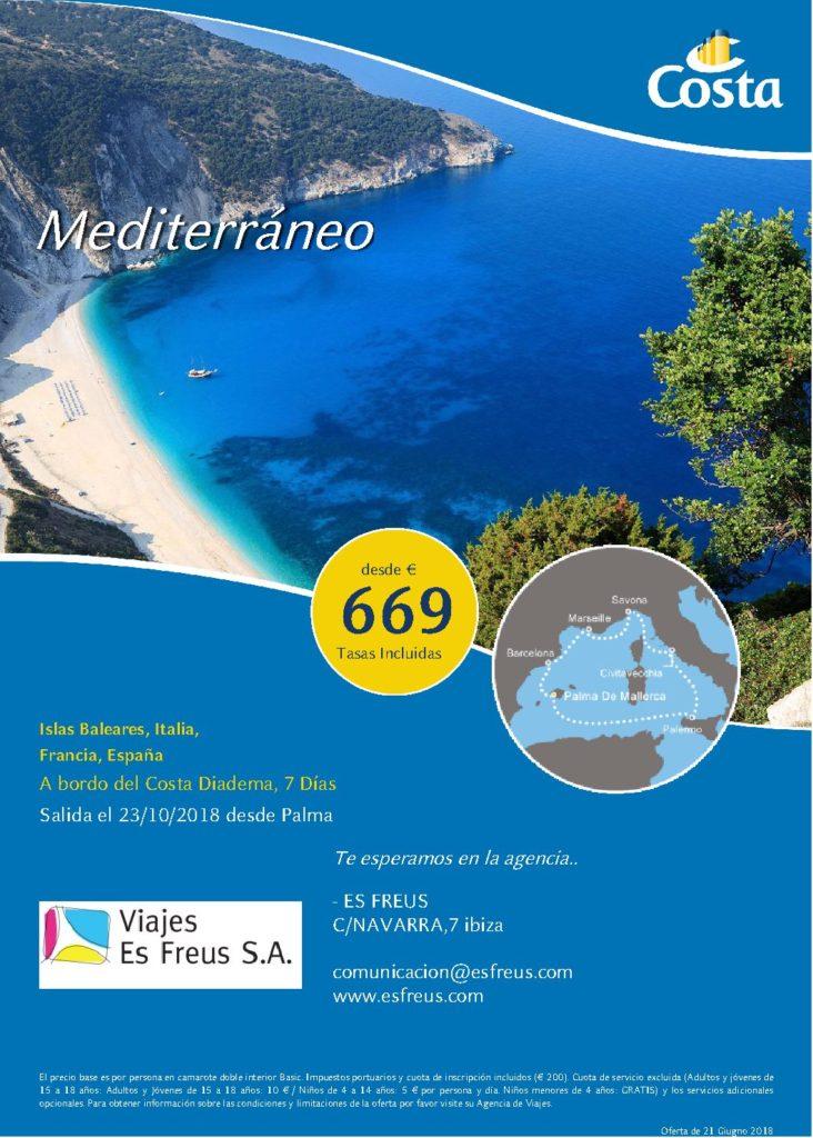 Costa Cruceros Oferta 23 Octubre desde Palma