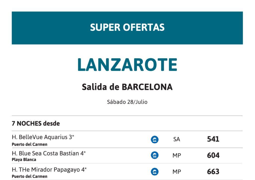 Super Oferta Lanzarote - 28 Julio