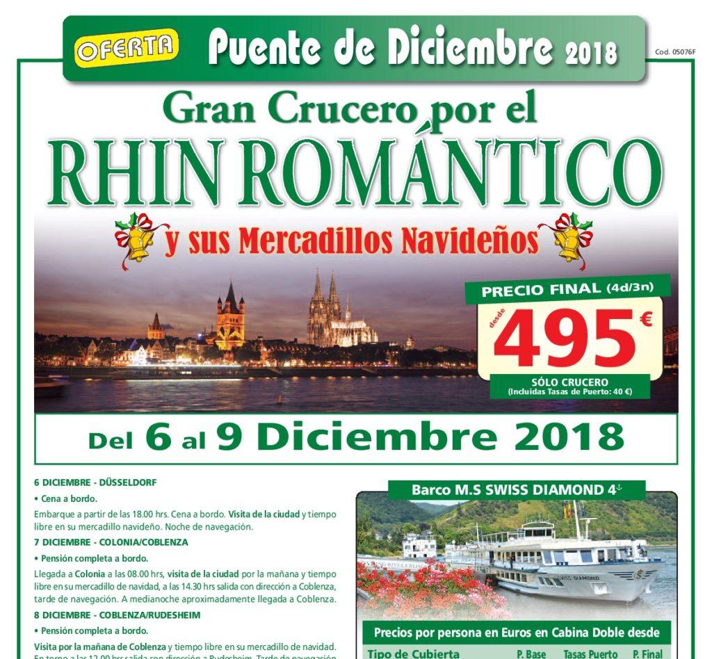 GRAN CRUCERO POR EL RHIN - DEL 6 AL 9 DICIEMBRE - SOLO CRUCERO A 495€