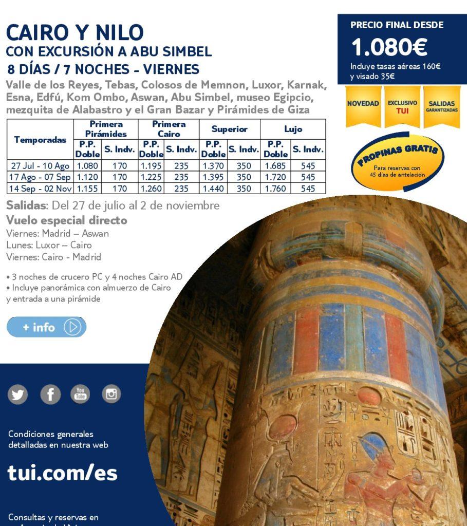 CAIRO Y NILO - DESDE 1080€ - HASTA EL 2 NOVIEMBRE VUELO ESPECIAL DIRECTO EL VIERNES
