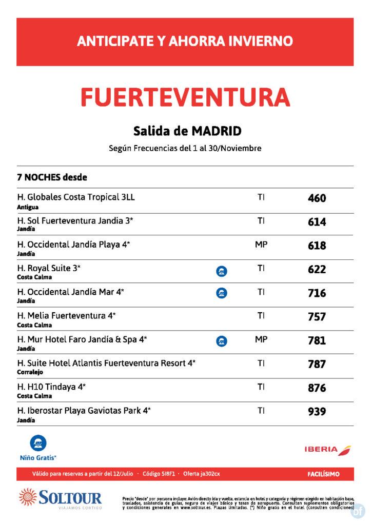 FUERTEVENTURA SALIDA DESDE MADRID