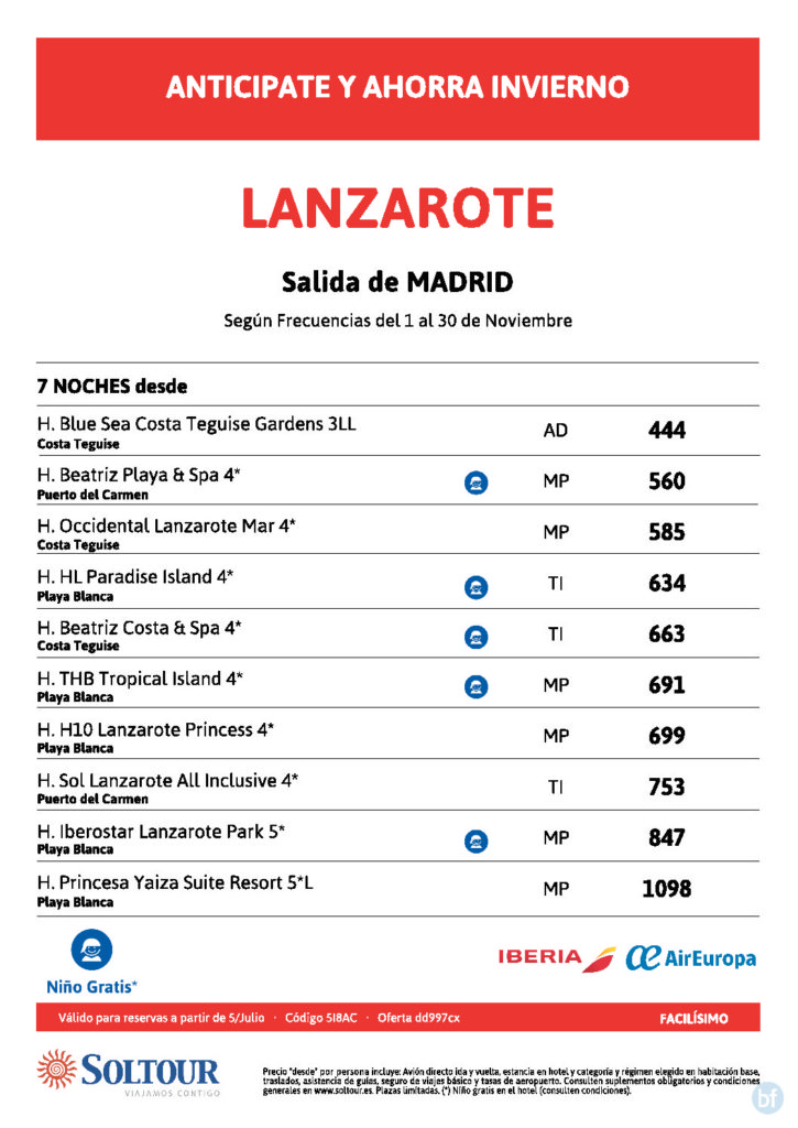 LANZAROTE - VUELO DESDE MADRID - NOVIEMBRE 2018