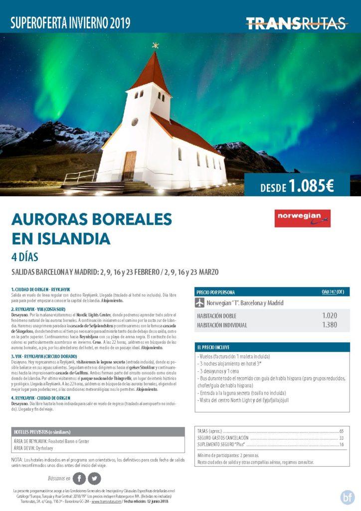 AURORAS BOREALES EN ISLANDIA  DESDE 1085€