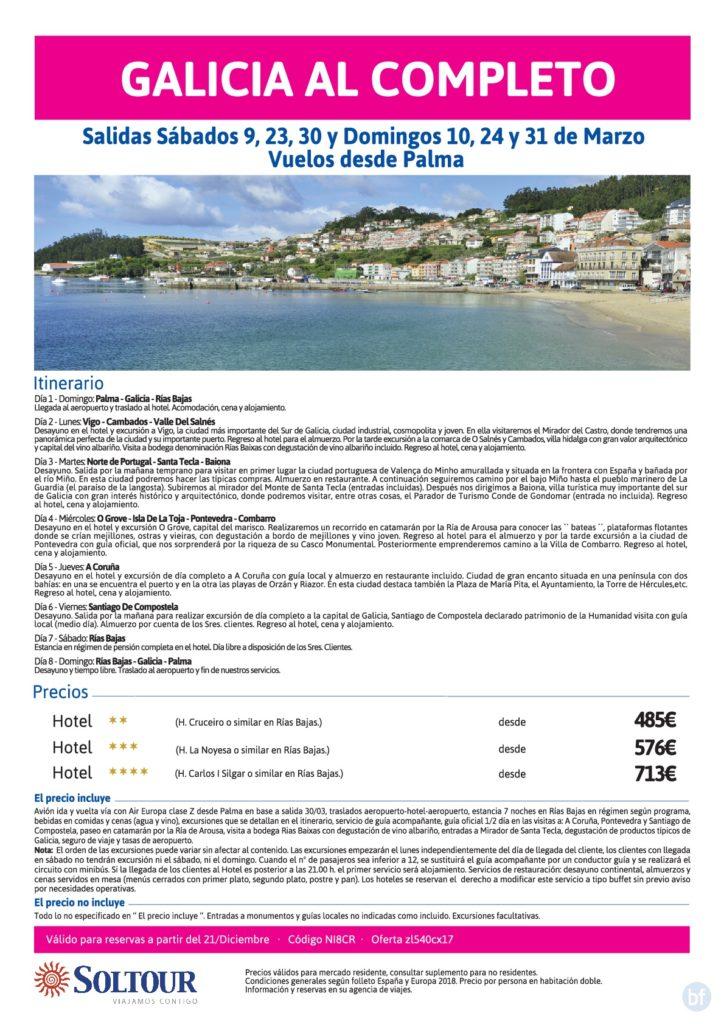 Galicia al completo, en Marzo - salidas desde Palma