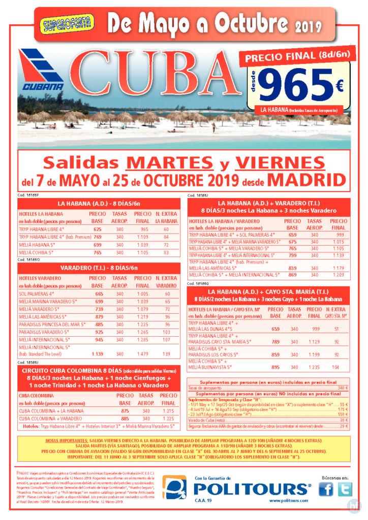 CUBA de Mayo a Octubre desde 965€