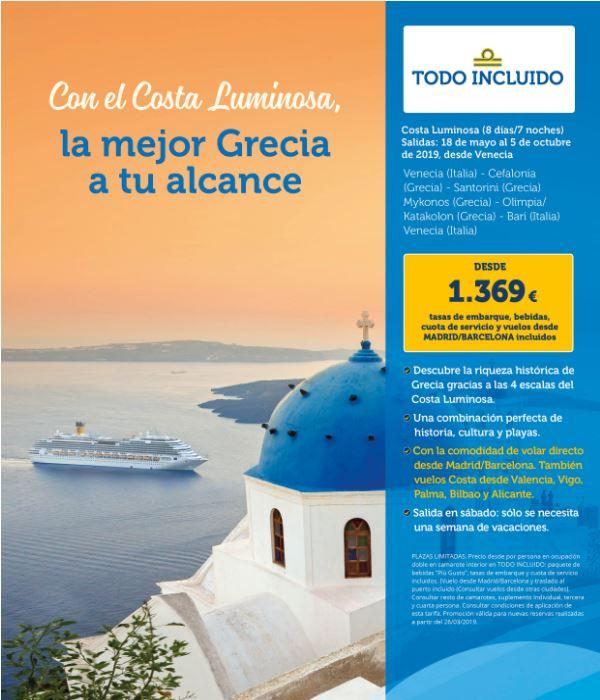 COSTA LUMINOSA - GRECIA DESDE VENECIA** vuelos desde BCN y MAD incluidos!!!
